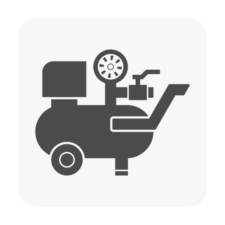 Air compressor pump and tool icon. Vectores