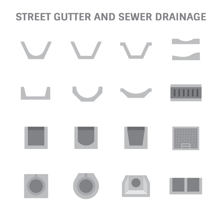 Sewer pipe and gutter icon set.