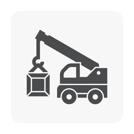 Mobile crane icon on white background  イラスト・ベクター素材