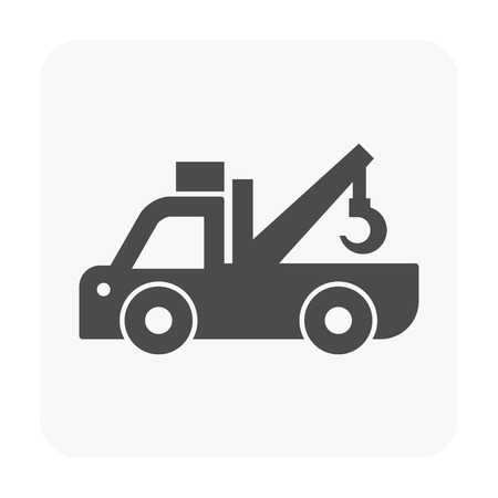 Pick up truck and crane icon on white background