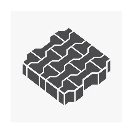Concrete pavement  block floor icon on white background