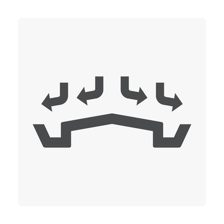 Rain gutter icon on white. Illustration