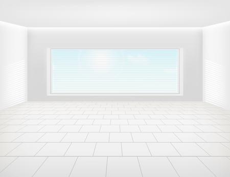 Tile floor and window inside room for background.