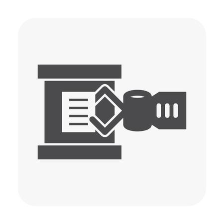 Robot arm icon on white background. 일러스트