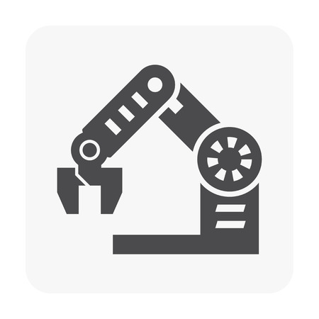 Robot arm icon on white background. Illustration