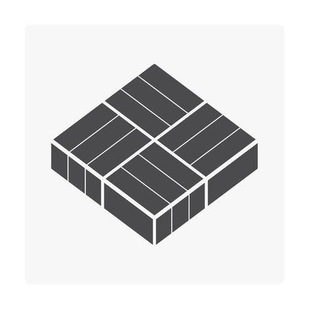 Concrete paver block floor icon on white background.