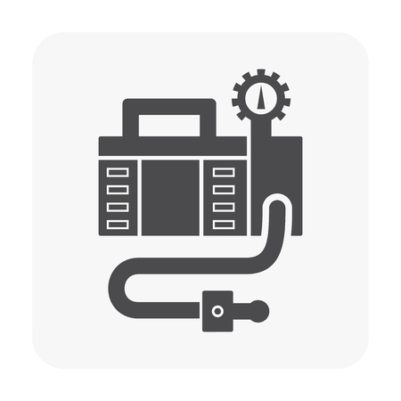 Air compressor pump and tool icon.