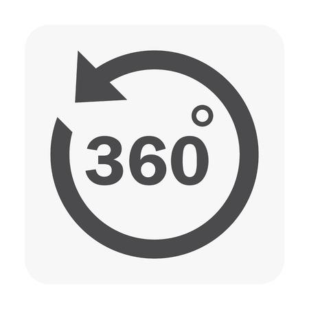 360 icon illustration on white background.