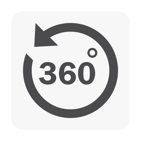 360 icon illustration on white background.