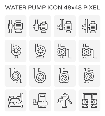 Water pump and steel pipe icon, 48x48 pixel perfect and editable stroke. Stock Vector - 101684498