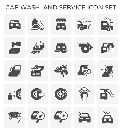 Car wash and service icon  set. 向量圖像
