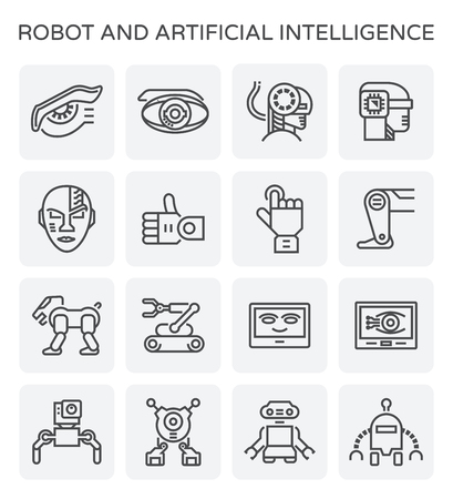 Robot and artificial intelligence icon set.