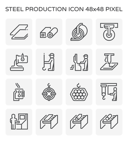 Steel production and pipe icon set, 64x64 pixel perfect and editable stroke.