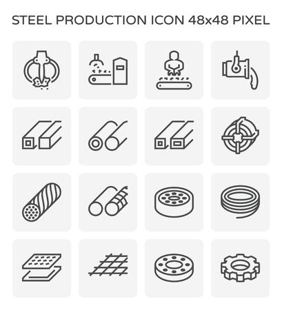 Jeu d'icônes de l'industrie de la production d'acier et de métal, course parfaite et modifiable de 64x64 pixels. Vecteurs