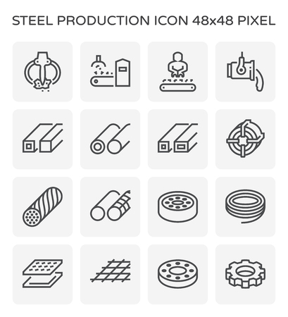 Steel and metal production industry icon set, 64x64 pixel perfect and editable stroke.