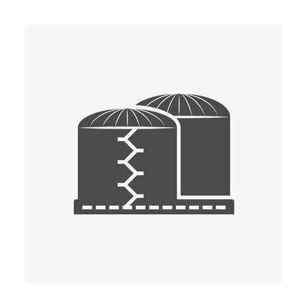 Natural gas tank icon on white.