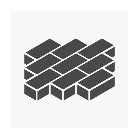 Icona del pavimento di blocco di finitrice in calcestruzzo su bianco.