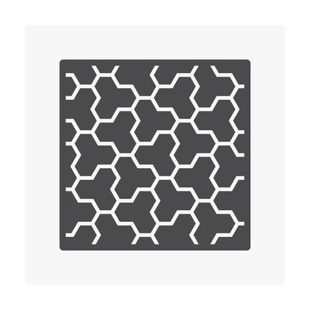 Concrete paver block floor icon set.