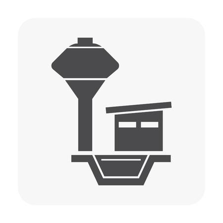 Water tank tower icon on white. Ilustração