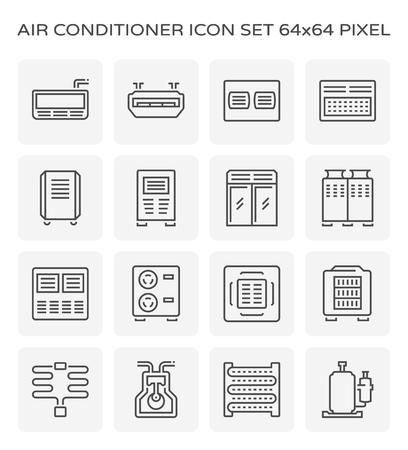 Ensemble d'icônes de climatiseur et compresseur d'air, pixel parfait 64x64 et course modifiable.