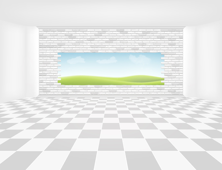 Tile floor with grid line and light from window in perspective view for background.