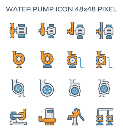 Electric water pump and agriculture equipment icon set, 48x48 perfect pixel and editable stroke. Stock Illustratie