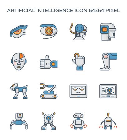 Icono de robot e inteligencia artificial, trazo perfecto y editable de 64x64 píxeles.