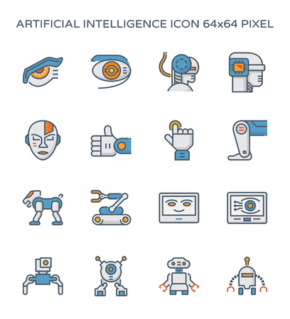 Symbol für Roboter und künstliche Intelligenz, 64x64 Pixel perfekter und bearbeitbarer Strich.