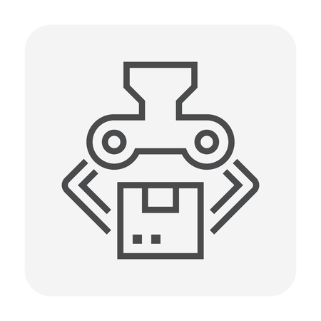 Robot working with product box,64x64 perfect pixel and editable stroke. Illustration