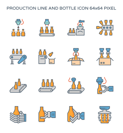 Production line and packaging bottle icon set, 64x64 pixel perfect and editable stroke.