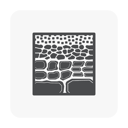 Soil testing and tool icon on white.