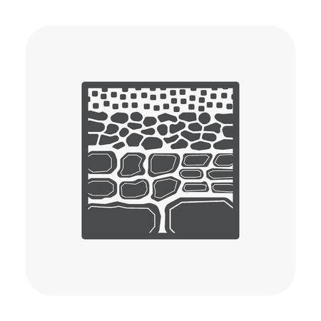 Soil testing and tool icon on white.