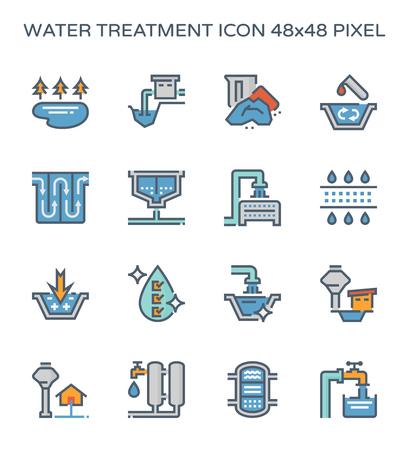 Système de traitement de l'eau et jeu d'icônes de filtre à eau, pixel parfait 64x64 et trait modifiable.