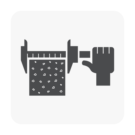 Concrete strength testing and equipment icon on white. Illustration