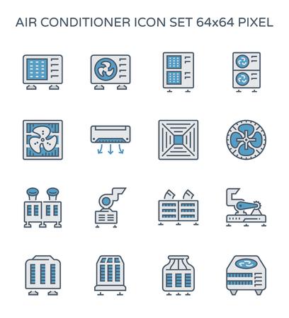 Ensemble d'icônes de climatiseur et compresseur d'air, pixel parfait 64x64 et course modifiable. Vecteurs