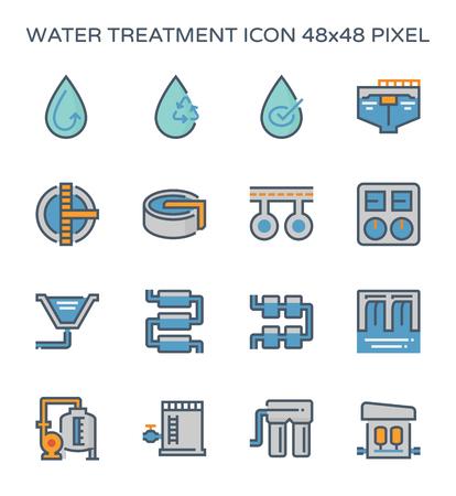 Usine de traitement de l'eau et jeu d'icônes de filtre à eau, pixel parfait 64x64 et trait modifiable.