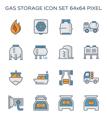 Gas storage and transportation icon set, 64x64 perfect pixel and editable stroke.