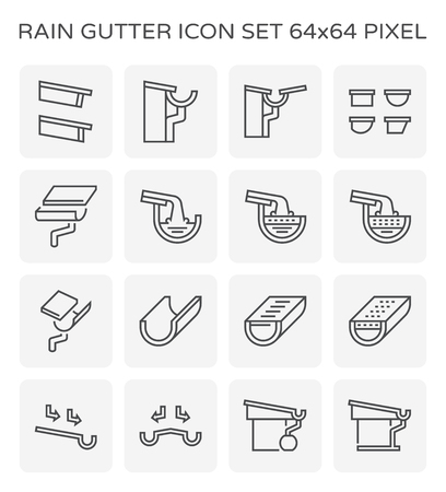 Rain gutter icon set, 64x64 perfect pixel and editable stroke.