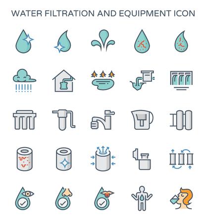 Conjunto de iconos de equipos y filtración de agua.
