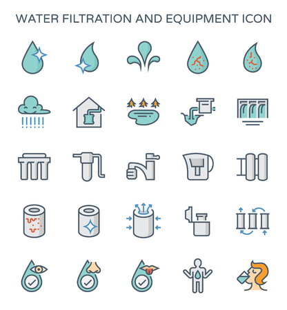 Water filtration and equipment icon set.