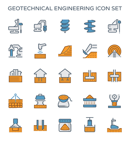 Geotechnical engineering and soil testing icon set.