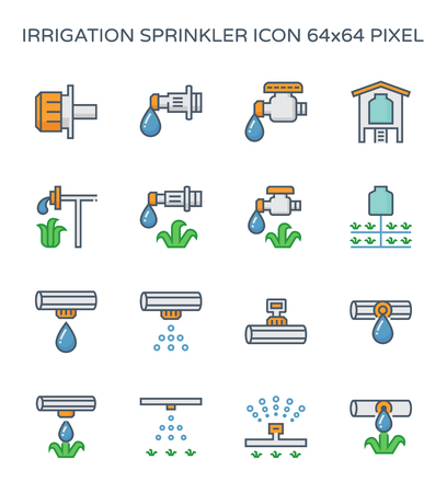 Automatic water drip irrigation icon set, 64x64 perfect pixel and editable stroke.