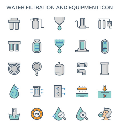 Water filtration and equipment icon set. Stock Vector - 103696525