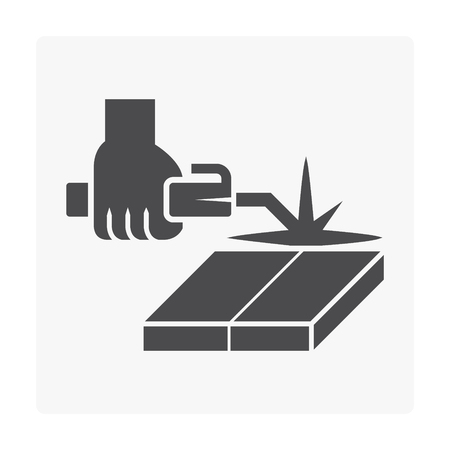 Welding work and tool icon on white. 向量圖像