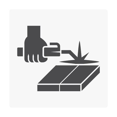 Welding work and tool icon on white. Stock Illustratie
