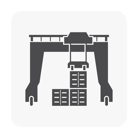 Gantry crane icon on white.