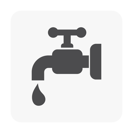 Faucet and water drop icon.