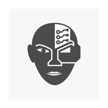 Robot head icon on white. Illustration