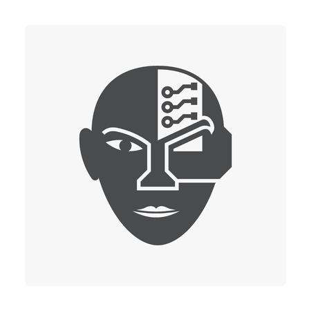 Robot head icon on white. Illustration