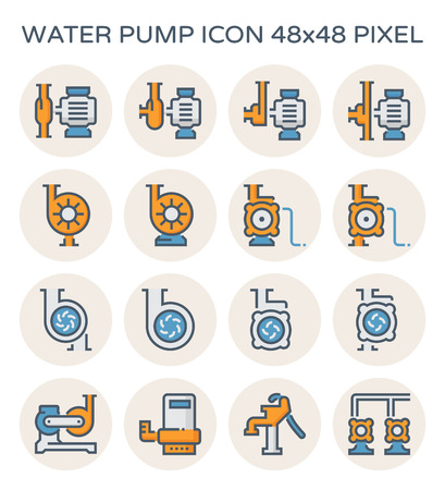 Electric water pump and agriculture equipment icon set, 48x48 perfect pixel and editable stroke.